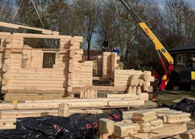 Exterior of Log cabin being built