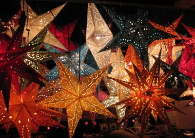 Paper Lantern Christmas stars of different colours